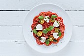 Caprese salad (seen from above)