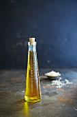 Rapeseed oil in a glass bottle