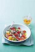 Tomato salad with anchovies and cannellini