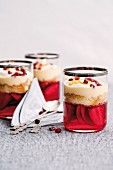 Trifles with fruit jelly, sponge cake and vanilla cream