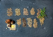 An arrangement of different spices from the Apiaceae family