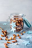 Spiced nuts in a jar for Christmas