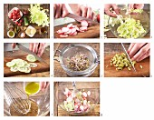 How to prepare radish salad with Harzer Käse (sour milk cheese), cucumber and red onion