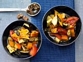 Ratatouille with pumpkin, aubergine and tomato