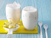 White tea smoothie with star fruit and cherimoya