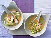 Miso soup with pan-fried chicken fillet