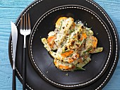Carrot and kohlrabi gratin with herb quark