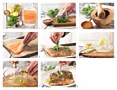 How to prepare fillet of salmon with lemon, basil and black pepper