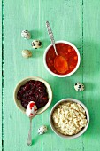 Horseradish sauce, lingonberry jam and rowan berry jam for Easter