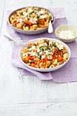 Pasta with lentils, courgette, carrot and feta