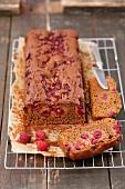 Gingerbread cake with raspberries