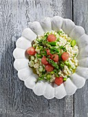 Asparagus risotto with watermelon balls
