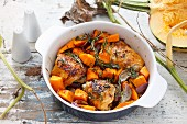 Chicken with pumpkin and rosemary