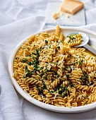 Pasta with herbs, anchovies, garlic butter and Parmesan