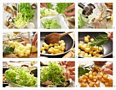 How to prepare a green salad with smoked trout, potato croutons and horseradish sauce