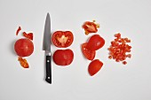 Peeling and dicing tomatoes (step by step)