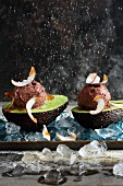 Sweet avocado cream with chocolate, coconut and chilli ice cream