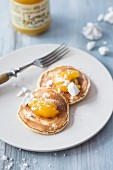 Pancakes with lemon curd and meringue
