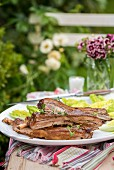 Sticky mustard BBQ ribs with mustard sauce