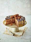Coffee and walnut torte cut