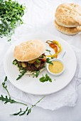 Vegan burgers with chia buns and a swede and bean patty