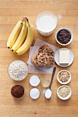 Ingredients for chocolate dome cake with bananas