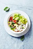 Mixed salad with tomatoes, avocado, lettuce, feta and herbs