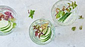 Infused water with cucumber and herbs