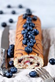 Biscuit roulade with blueberries and vanilla cream