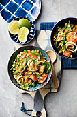 Roasted Tom Yum rice with shrimp and peas (Asia)