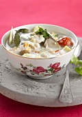 """Tom ka kai; chicken, galangal and coconut milk soup"""