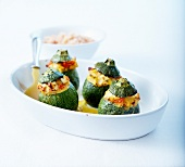 Round zucchinis stuffed with feta