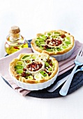 Leek,goat's cheese and crisp bacon quiches