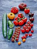 Verschiedene Tomaten und Gurken