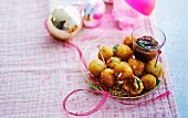 Cheese balls with caramelized onion jam