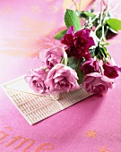 Rosa Rosen auf einer Glückwunschkarte