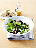 Beetroot sprout,beetroot,goat's cheese and crushed hazelnut salad