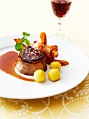 Steak with Dauphine potatoes smoked bacon and roasted pumpkin