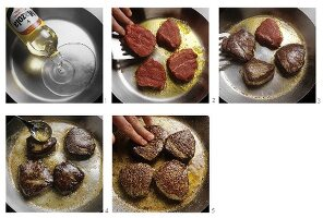 Frying steaks