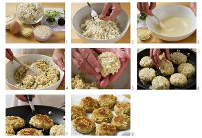 Crab cakes being made