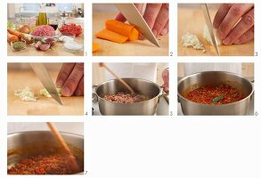 Making bolognese sauce