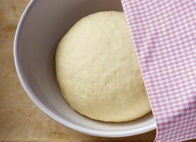 Yeast dough in a bowl half covered by a tea towel