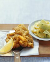 Wiener schnitzel (breaded veal escalopes) with potato salad