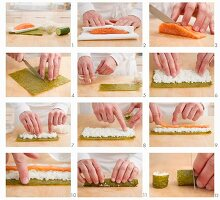 Preparing salmon maki sushi
