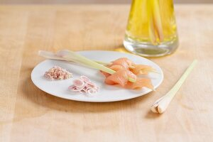 Lemon grass: as skewers, sliced and grated