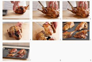 Carving roast duck