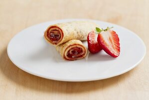 Pancakes filled with strawberry jam