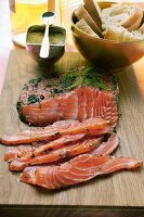 Graved lachs with dill; mustard sauce; baguette