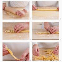 Cutting tagliatelle by hand