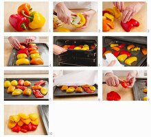 Roast peppers in the oven and skin